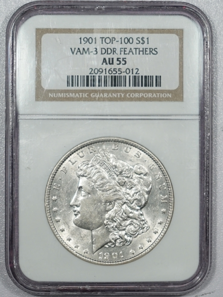 Coin World/Numismatic News Featured Coins 1901 DOUBLED DIE REVERSE MORGAN DOLLAR – VAM-3 DDR FEATHERS TOP 100 – NGC AU-55