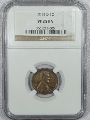 New Certified Coins 1914-D LINCOLN CENT – NGC VF-25 BN, KEY-DATE!