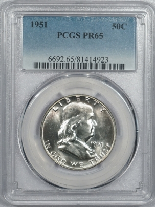Coin World/Numismatic News Featured Coins 1951 PROOF FRANKLIN HALF DOLLAR – PCGS PR-65, PREMIUM QUALITY! LOOKS 66+!