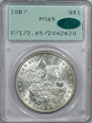CAC Approved Coins 1887 MORGAN DOLLAR – PCGS MS-65 LOOKS 66++ CAC APPROVED, RATTLER!