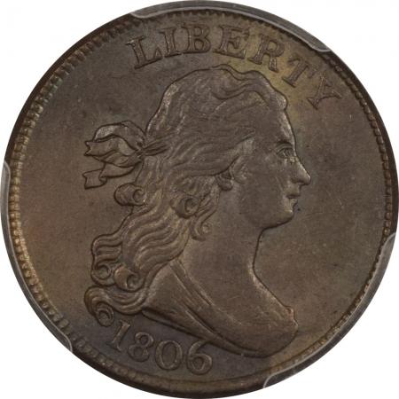 New Certified Coins 1806 DRAPED BUST HALF CENT LG 6 STEMS – PCGS AU-58 CAC ORIGINAL, SMOOTH & PQ!