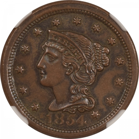 New Certified Coins 1854 BRAIDED HAIR LG CENT NGC MS-64 BN CAC, GORGEOUS & PQ, LOOKS BETTER IN HAND