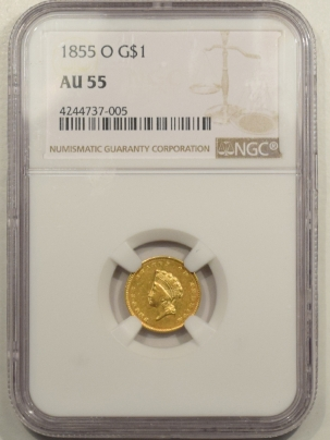 $1 1855-O TYPE 2 $1 GOLD DOLLAR – NGC AU-55 SCARCE COIN, NEW ORLEANS!