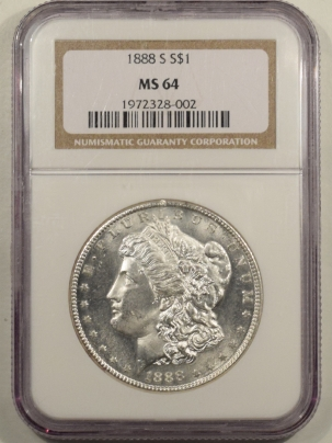 New Certified Coins 1888-S MORGAN DOLLAR – NGC MS-64 BLAST WHITE, LOOKS PROOFLIKE & PREMIUM QUALITY!