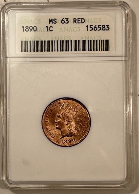 Coin World/Numismatic News Featured Coins 1890 INDIAN CENT – ANACS MS-63 RD, FLASHY RED!
