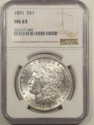 Morgan Dollars 1891 MORGAN DOLLAR – NGC MS-63 BLAST WHITE!