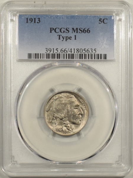 New Certified Coins 1913 BUFFALO NICKEL TY I – PCGS MS-66