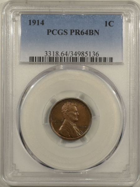 New Certified Coins 1914 MATTE PROOF LINCOLN CENT – PCGS PR-64 BN PERFECT SURFACES & PREMIUM QUALITY