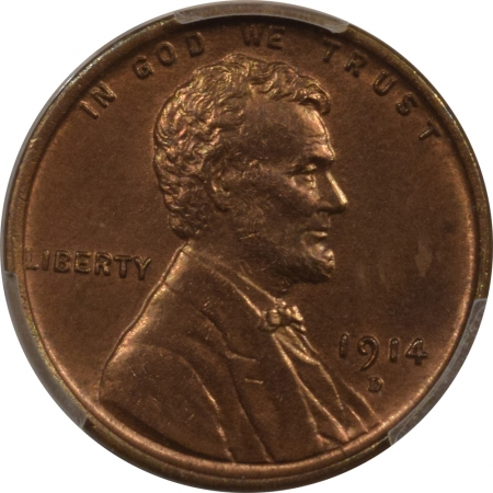 New Certified Coins 1914-D LINCOLN CENT – PCGS MS-64+ RB SPOT FREE W/ UMBLEMISHED SURFACES, PQ!