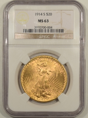 $20 1914-S 20 ST GAUDENS GOLD – NGC MS-63