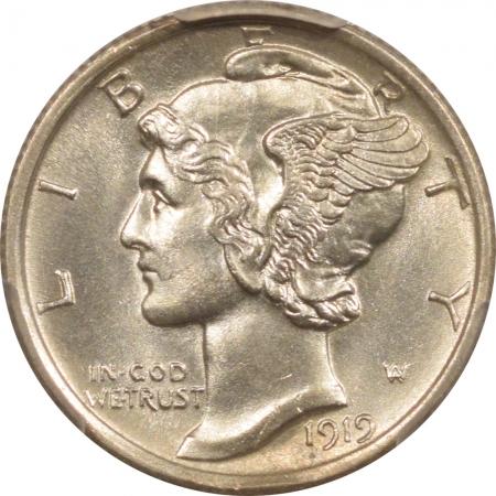 New Certified Coins 1919-D MERCURY DIME – PCGS MS-63 FB RARE IN FB, PREMIUM QUALITY!