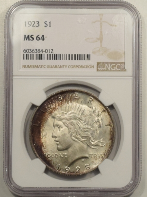 New Certified Coins 1923 PEACE DOLLAR – NGC MS-64 PRETTY, PREMIUM QUALITY!