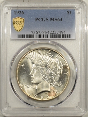 New Certified Coins 1926 PEACE DOLLAR – PCGS MS-64