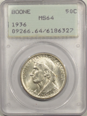 New Certified Coins 1936 BOONE COMMEMORATIVE HALF DOLLAR – PCGS MS-64 RATTLER & PREMIUM QUALITY++!