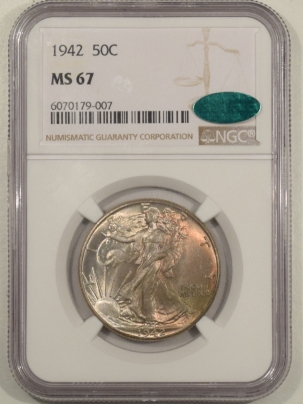 CAC Approved Coins 1942 WALKING LIBERTY HALF DOLLAR – NGC MS-67 CAC VERY PRETTY, PRISTINE & SUPERB!