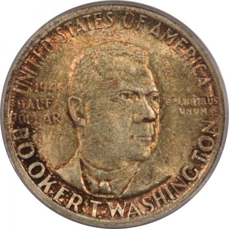 New Certified Coins 1946 BTW COMMEMORATIVE HALF DOLLAR – PCGS MS-64 PRETTY, RATTLER, PREMIUM QUALITY