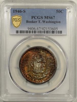 New Certified Coins 1946-S BTW COMMEMORATIVE HALF DOLLAR PCGS MS-67, GORGEOUS COLOR PREMIUM QUALITY!