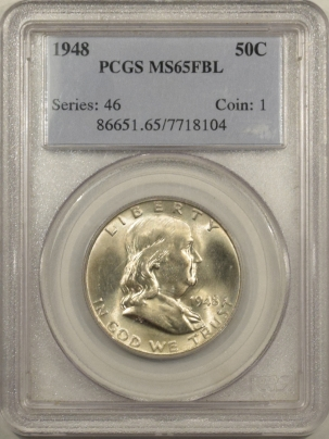 New Certified Coins 1948 FRANKLIN HALF DOLLAR – PCGS MS-65 FBL