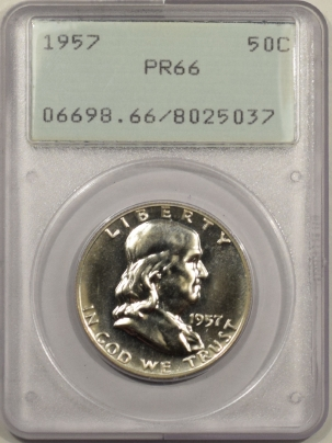New Certified Coins 1957 PROOF FRANKLIN HALF DOLLAR – PCGS PR-66 PREMIUM QUALITY! RATTLER!