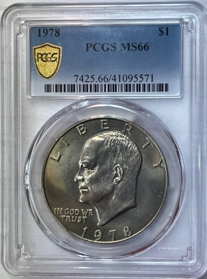 New Certified Coins 1978 EISENHOWER DOLLAR – PCGS MS-66, LOOKS SUPERB