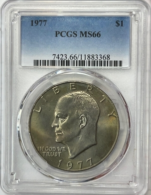 New Certified Coins 1977 EISENHOWER DOLLAR – PCGS MS-66, FRESH & PRETTY!