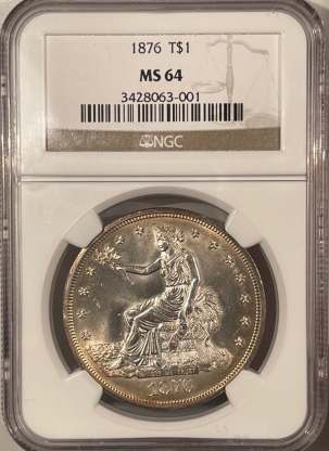 Coin World/Numismatic News Featured Coins 1876 TRADE DOLLAR – NGC MS-64 WHITE & SMOOTH!