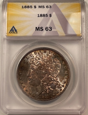 New Certified Coins 1885 MORGAN DOLLAR – ANACS MS-63