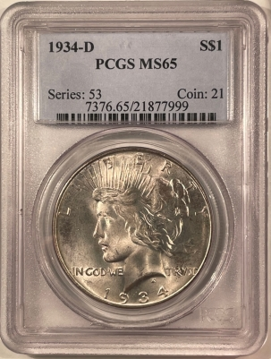 New Certified Coins 1934-D PEACE DOLLAR – PCGS MS-65