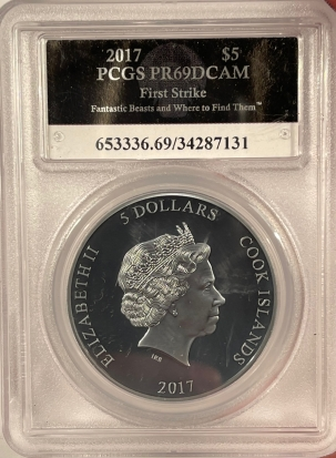 New Certified Coins 2017 COOK ISLAND $5 FANTASTIC BEASTS 1 OZ .999 SILVER PCGS PR-69 DCAM 1ST STRIKE