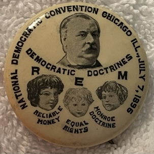 """Pre-1920 EXTREMELY RARE 1896 GROVER CLEVELAND PRESIDENTIAL HOPEFUL 1 1/4"""" BUTTON-MINT!"""