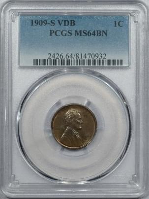 New Certified Coins 1909-S VDB LINCOLN CENT PCGS MS-64 BN, SMOOTH & NEARLY GEM, KEY-DATE!