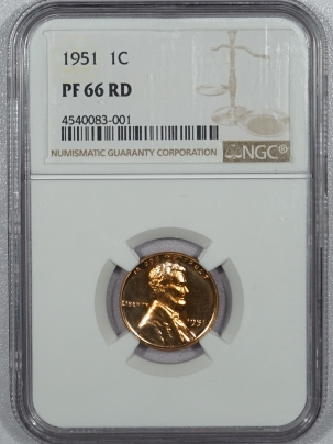 New Certified Coins 1951 PROOF LINCOLN CENT – NGC PF-66 RD