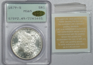 CAC Approved Coins 1879-S MORAGN DOLLAR – PCGS MS-65, GOLD CAC & MS-67 QUALITY! RATTLER!