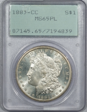 New Certified Coins 1883-CC MORGAN DOLLAR – PCGS MS-65 PL, PROOFLIKE & SUPERB! RATTLER!