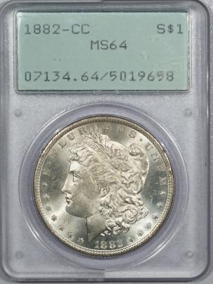 New Certified Coins 1882-CC MORGAN DOLLAR – PCGS MS-64, PREMIUM QUALITY! GEM QUALITY! RATTLER!