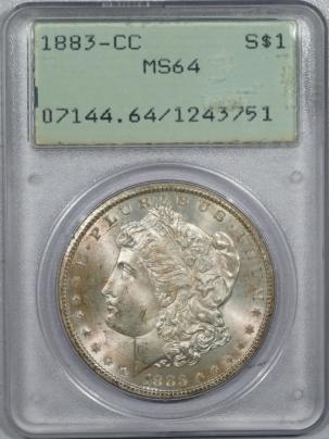 Morgan Dollars 1883-CC MORGAN DOLLAR – PCGS MS-64, ORIGINAL! VERY CHOICE! RATTLER!