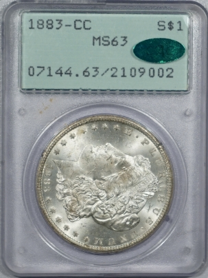 CAC Approved Coins 1883-CC MORGAN DOLLAR – PCGS MS-63, CAC APPROVED! MS-64 QUALITY! PQ! RATTLER!