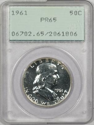 New Certified Coins 1961 PROOF FRANKLIN HALF DOLLAR – PCGS PR-65 RATTLER!