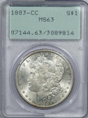 Coin World/Numismatic News Featured Coins 1883-CC MORGAN DOLLAR – PCGS MS-63 PREMIUM QUALITY! LOOKS GEM! RATTLER!