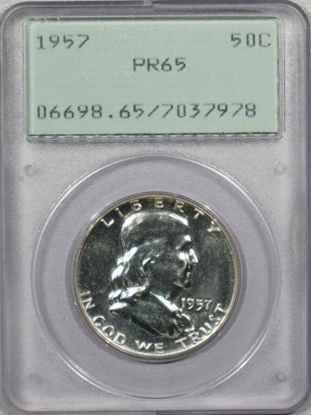 New Certified Coins 1957 PROOF FRANKLIN HALF DOLLAR – PCGS PR-65 PREMIUM QUALITY! RATTLER!