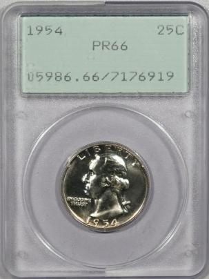 New Certified Coins 1954 PROOF WASHINGTON QUARTER – PCGS PR-66 PREMIUM QUALITY! RATTLER!
