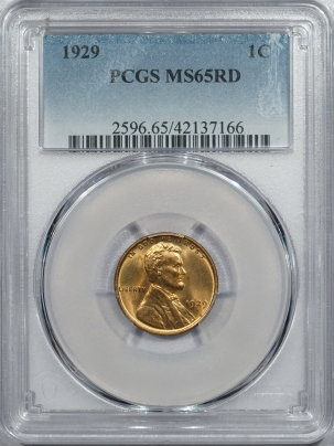 New Certified Coins 1929 LINCOLN CENT – PCGS MS-65 RD RED GEM!