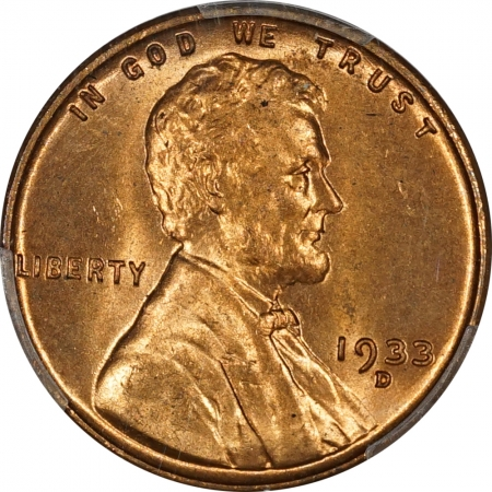 New Certified Coins 1933-D LINCOLN CENT – PCGS MS-66 RD FRESH & ORIGINAL!