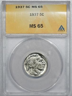 Buffalo Nickels 1937 BUFFALO NICKEL – ANACS MS-65
