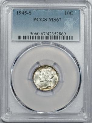 New Certified Coins 1945-S MERCURY DIME – PCGS MS-67 PRETTY! SUPERB GEM!