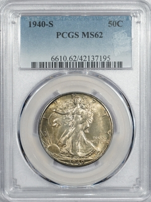 New Certified Coins 1940-S WALKING LIBERTY HALF DOLLAR – PCGS MS-62