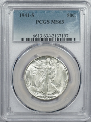New Certified Coins 1941-S WALKING LIBERTY HALF DOLLAR – PCGS MS-63 WHITE!