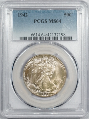New Certified Coins 1942 WALKING LIBERTY HALF DOLLAR – PCGS MS-64 PRETTY!