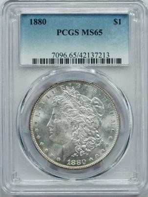 Morgan Dollars 1880 MORGAN DOLLAR – PCGS MS-65