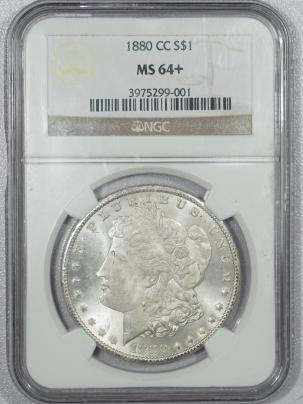 Morgan Dollars 1880-CC MORGAN DOLLAR – VAM-6, 8/7 LOW 7 – NGC MS-64+ BLAST WHITE & NICE!!